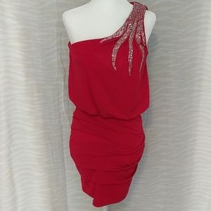 City Triangles red holiday cocktail dress
